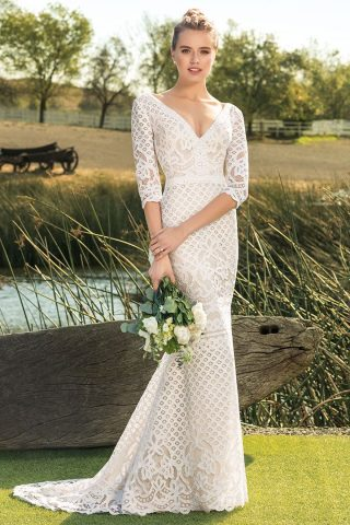 woman in beloved by casablanca wedding dress
