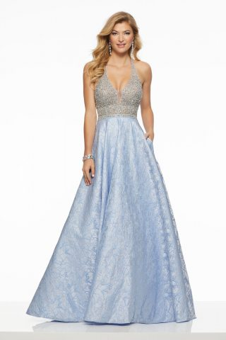 woman in morilee prom dress
