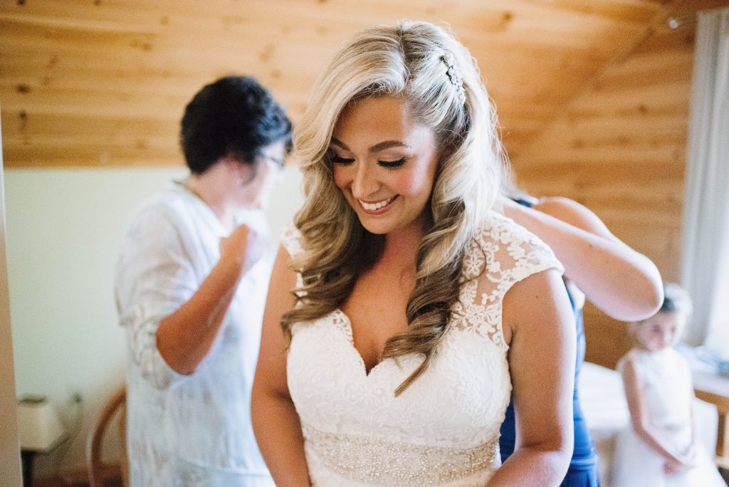photo of beautiful bride in her dress on her wedding day
